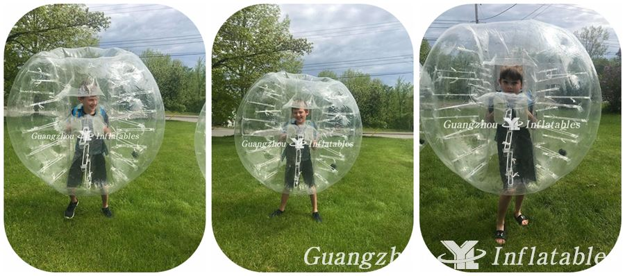 kids play inflatable bumper ball with window games