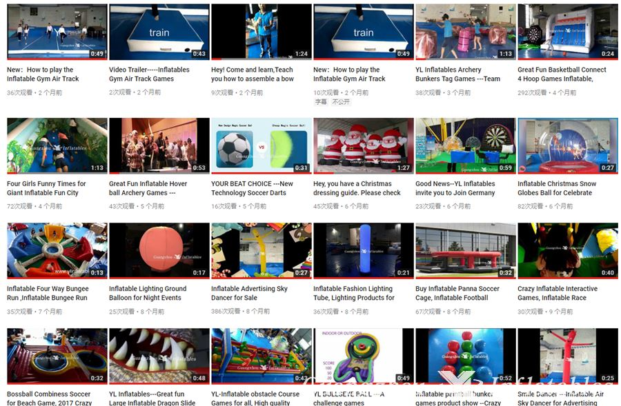 yl inflatables video list